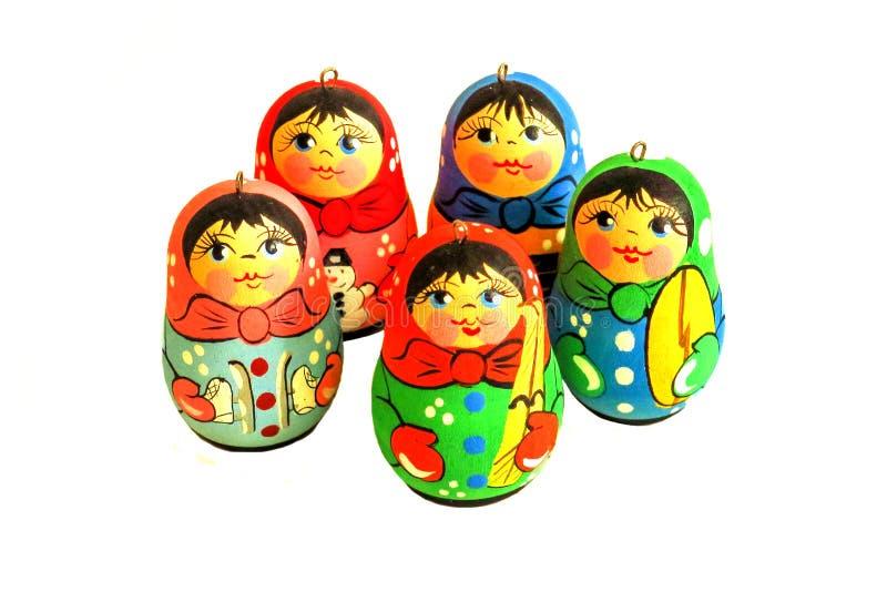 在白色背景隔绝的Matryoshka玩偶 俄国木玩偶纪念品 俄国筑巢玩偶 免版税库存图片