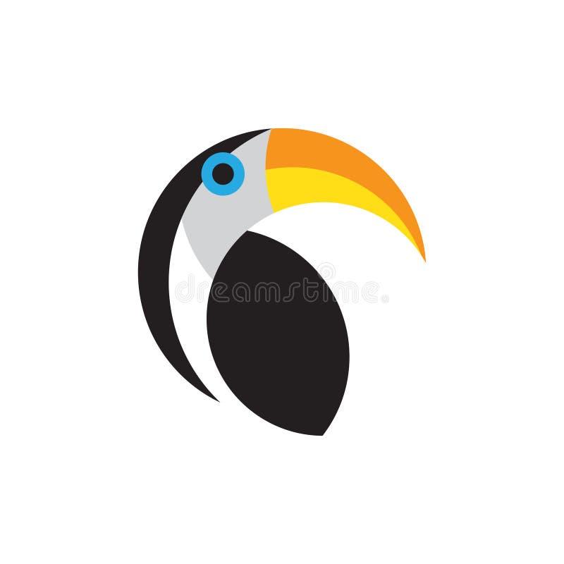 在白色背景隔绝的Toucan平的样式传染媒介商标模板 皇族释放例证
