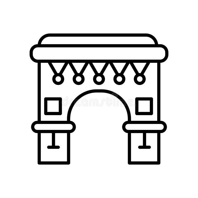 在白色背景隔绝的Triomphe象传染媒介Triomphe标志弧,弧,线或者线性标志,在概述的元素设计 库存例证