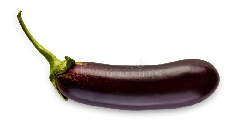 在白色背景隔绝的一成熟新鲜的茄子 免版税库存图片