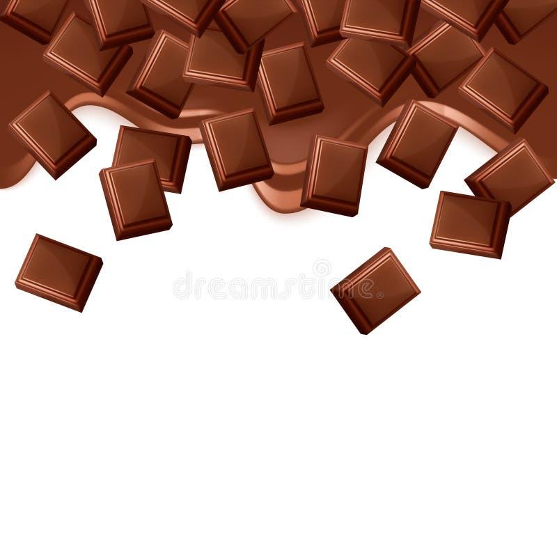 在白色背景隔绝的下落的黑巧克力块 库存例证