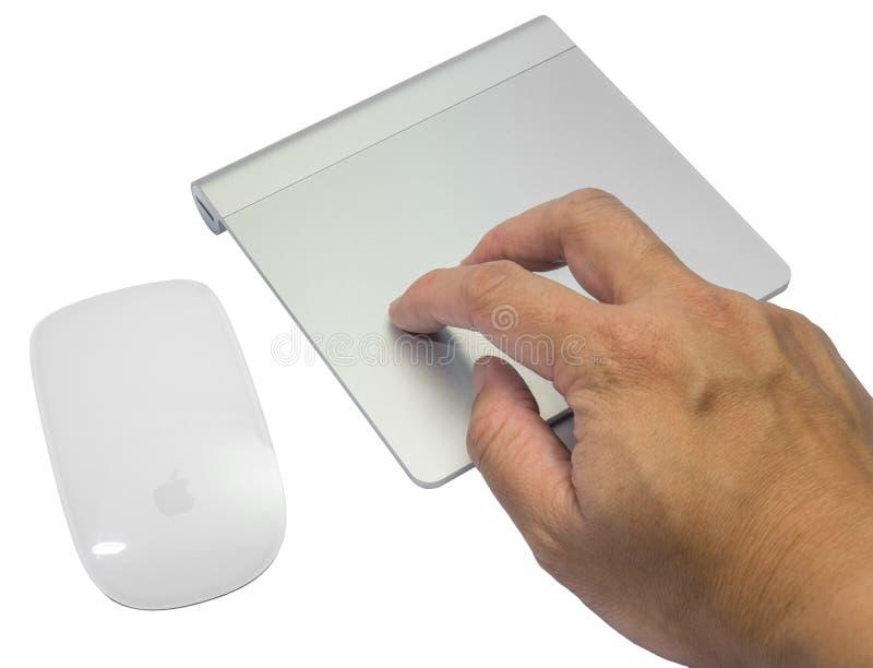 在白色背景隔绝的不可思议的老鼠和魔术trackpad 库存图片