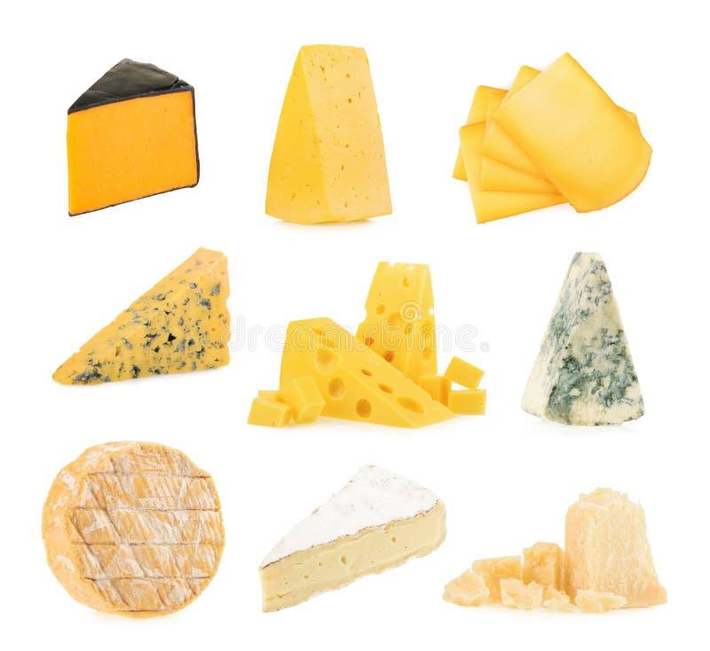 在白色背景隔绝的不同的种类乳酪 免版税库存照片