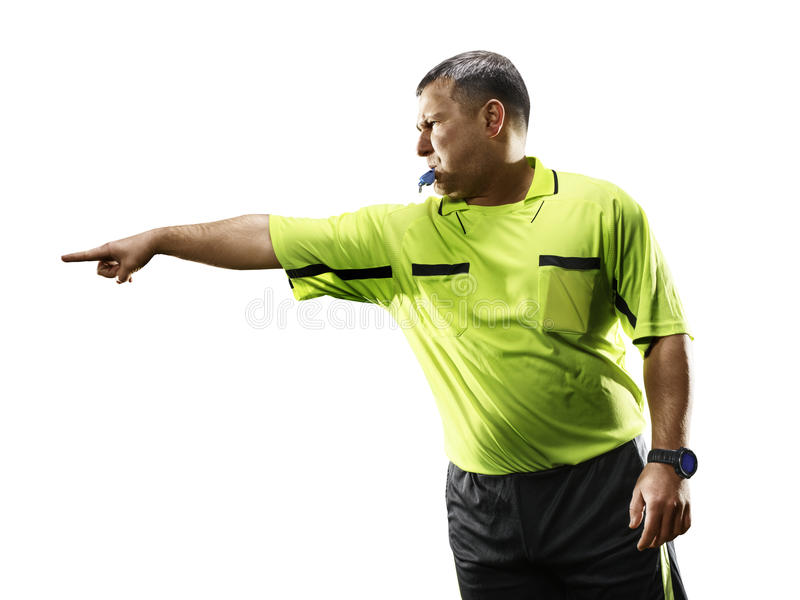 在白色背景隔绝的专业足球裁判员 免版税库存图片