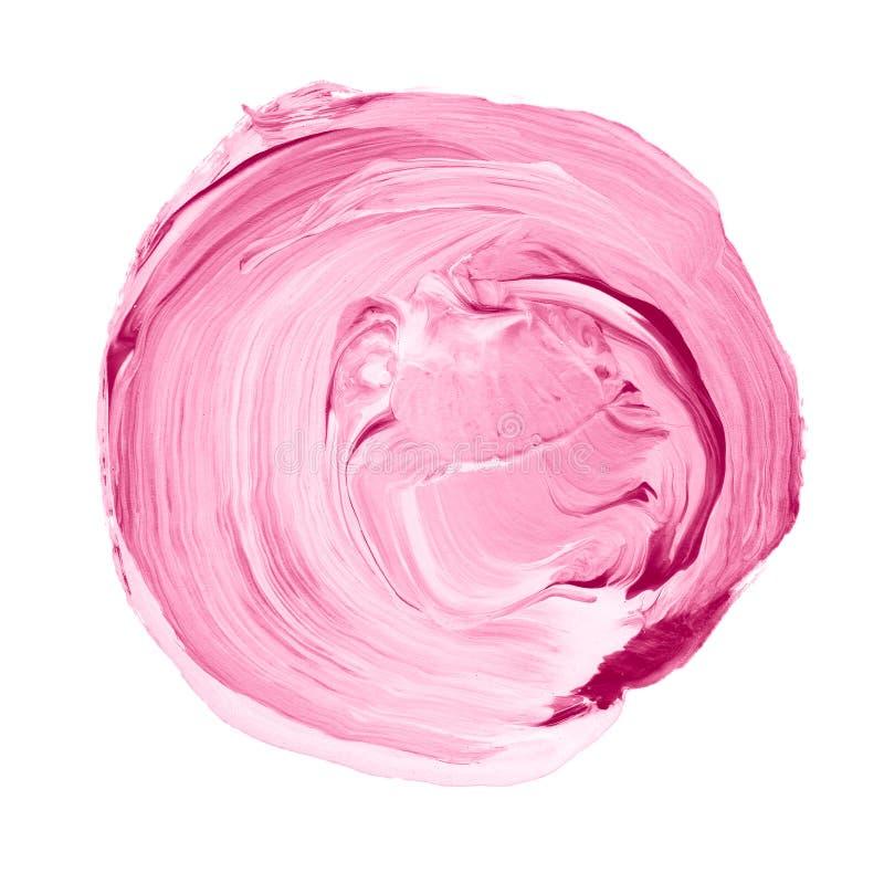 在白色背景隔绝的丙烯酸酯的圈子 桃红色,文本的浅紫色的圆的水彩形状 另外设计的元素 免版税库存照片