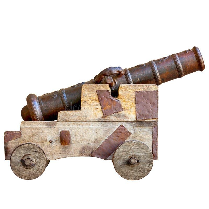 在白色背景隔绝的中世纪大炮 古老欧洲人a 免版税库存照片