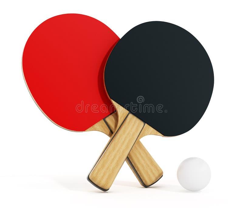 在白色背景隔绝的乒乓球或乒乓球球拍 3d例证 向量例证