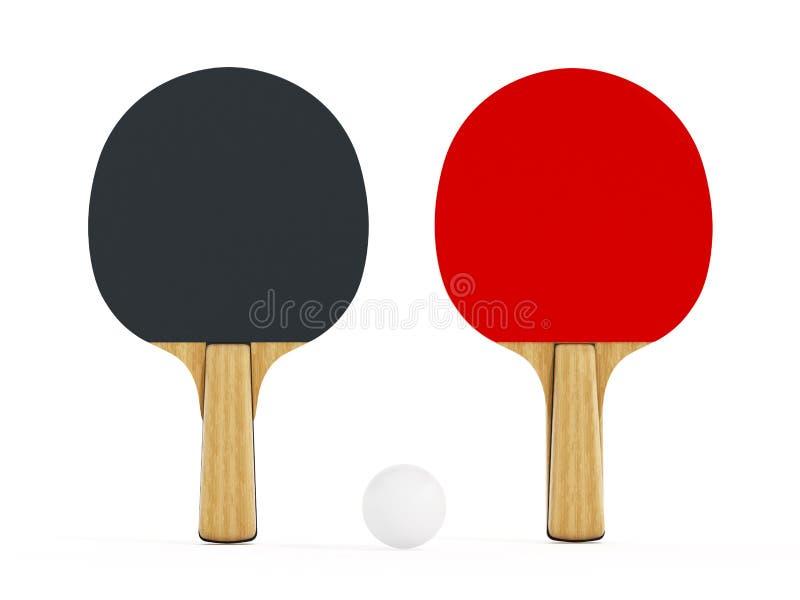 在白色背景隔绝的乒乓球或乒乓球球拍 3d例证 皇族释放例证