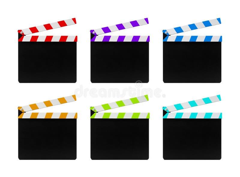 在白色背景隔绝的五颜六色的影片clapperboards 免版税图库摄影