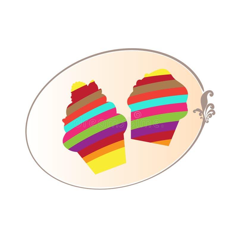 在白色背景隔绝的五颜六色的杯形蛋糕商标例证 按钮,商标,邀请,卡片传染媒介 库存例证