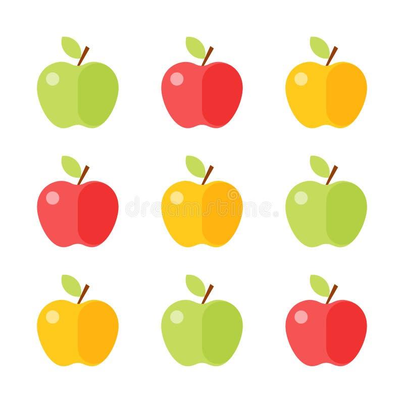 在白色背景隔绝的五颜六色的苹果象集合 向量 库存例证