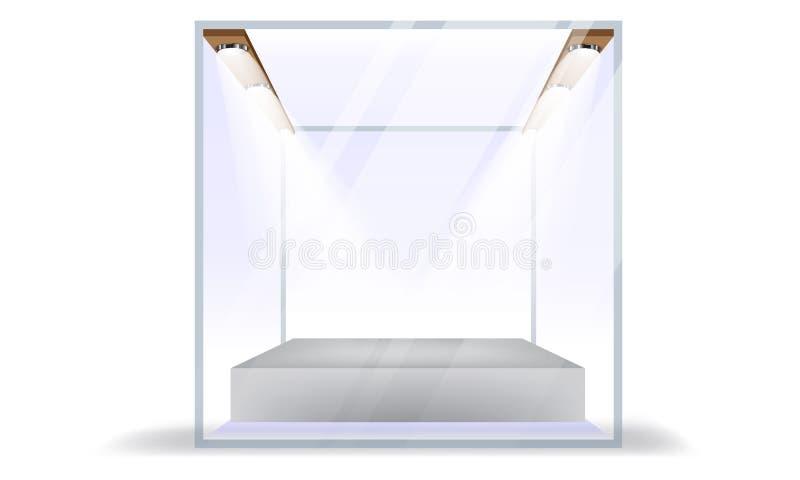 在白色背景隔绝的传染媒介空的透明玻璃箱子立方体 皇族释放例证