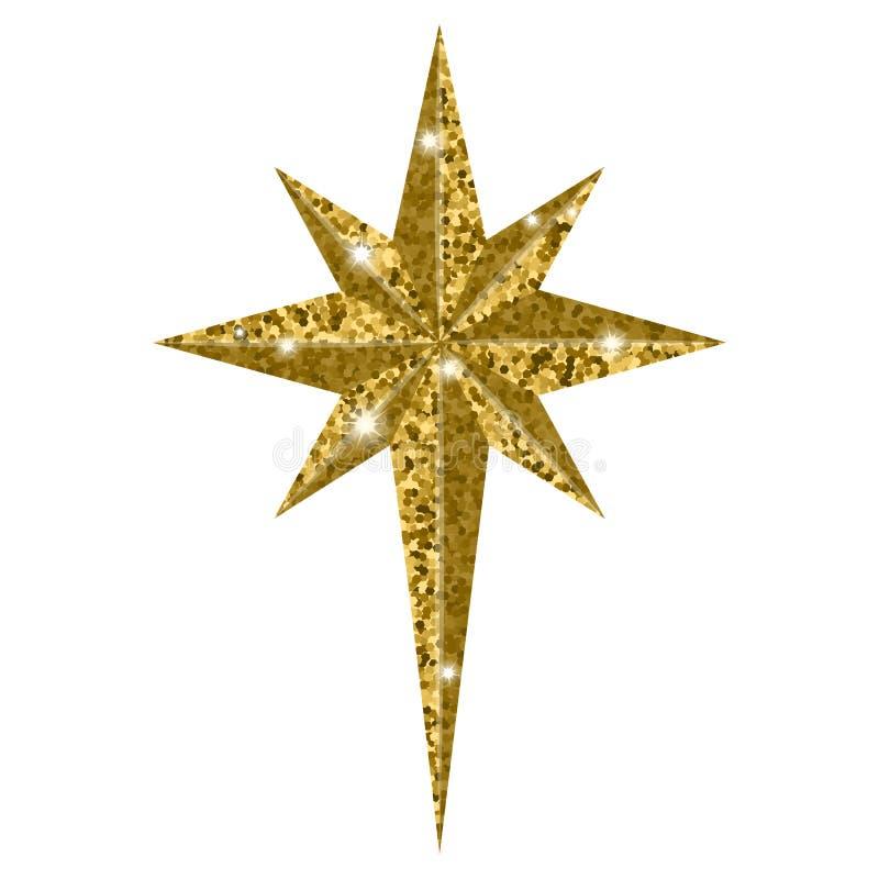 在白色背景隔绝的伯利恒圣诞节金黄星 库存例证