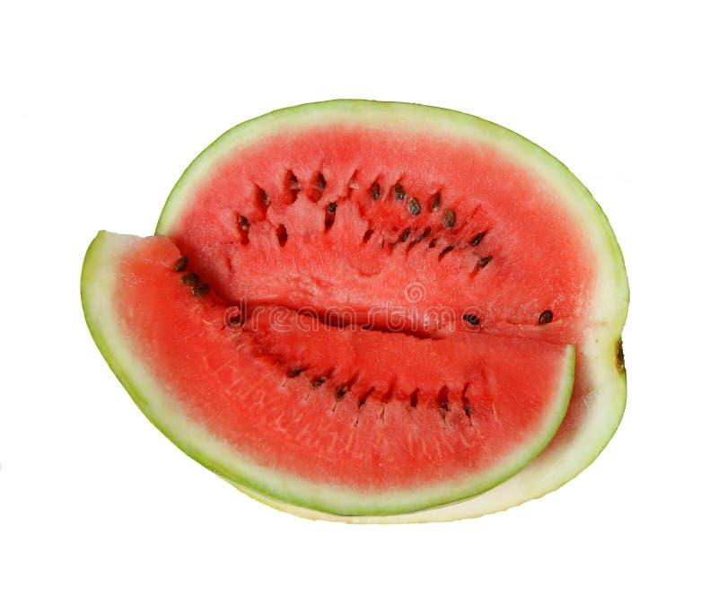 在白色背景隔绝的切的成熟西瓜 库存图片
