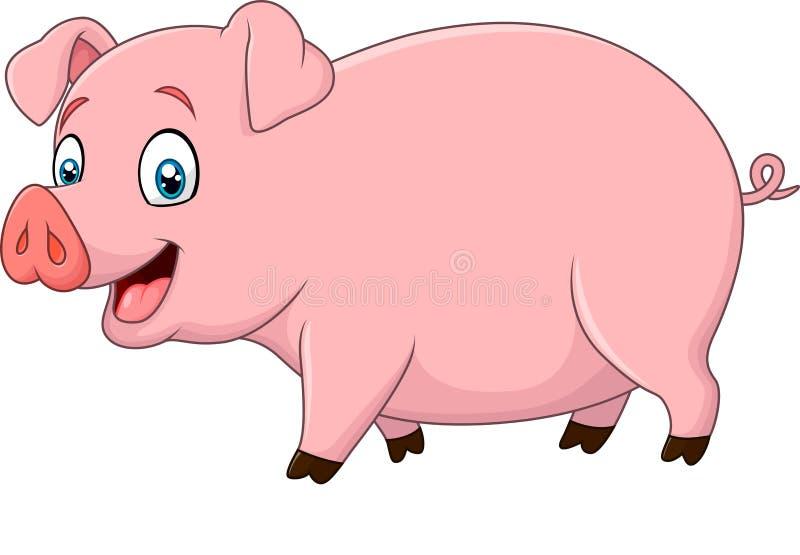 在白色背景隔绝的动画片愉快的猪 向量例证