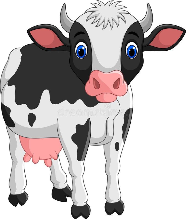 在白色背景隔绝的动画片母牛 向量例证