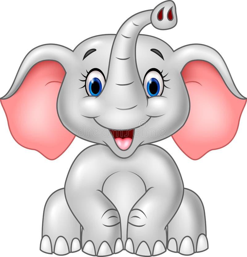 在白色背景隔绝的动画片逗人喜爱的婴孩大象 向量例证