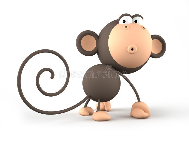 在白色背景隔绝的动画片猴子 向量例证