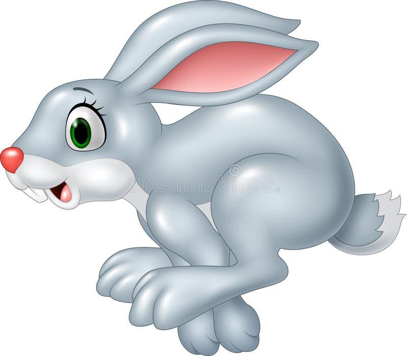 在白色背景隔绝的动画片滑稽的恐慌兔宝宝赛跑 库存例证