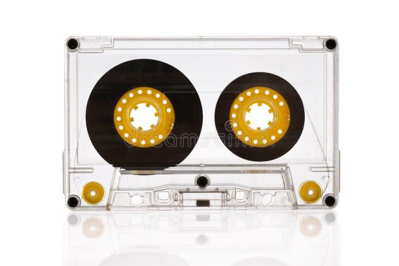 在白色背景隔绝的卡型盒式录音机 免版税库存照片