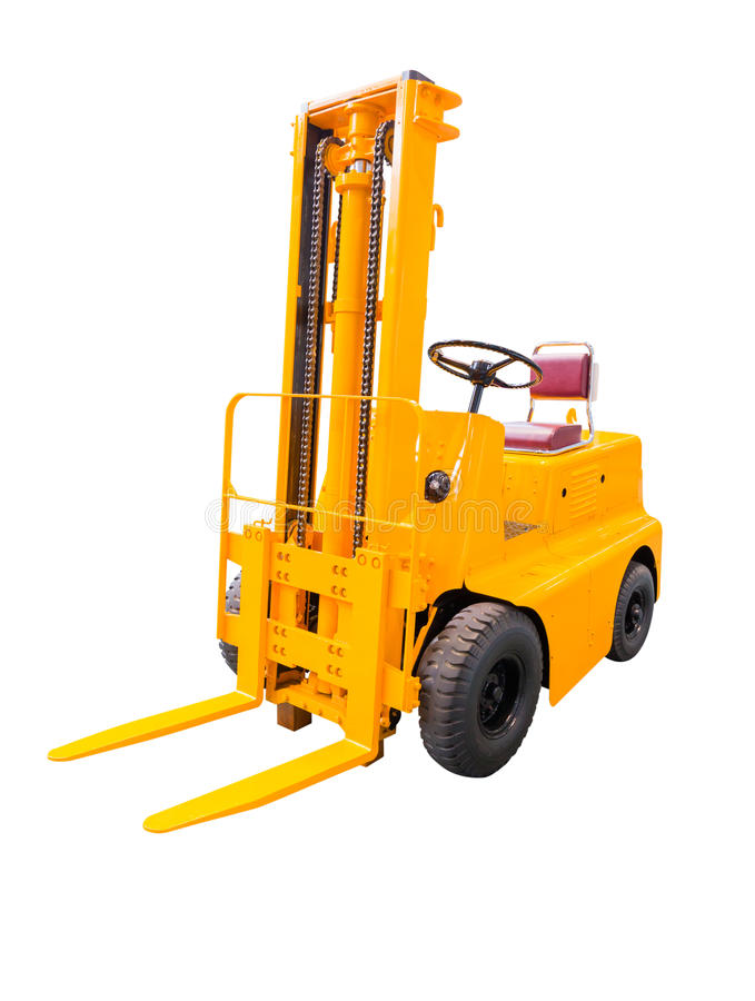 在白色背景隔绝的叉架起货车黄色 图库摄影