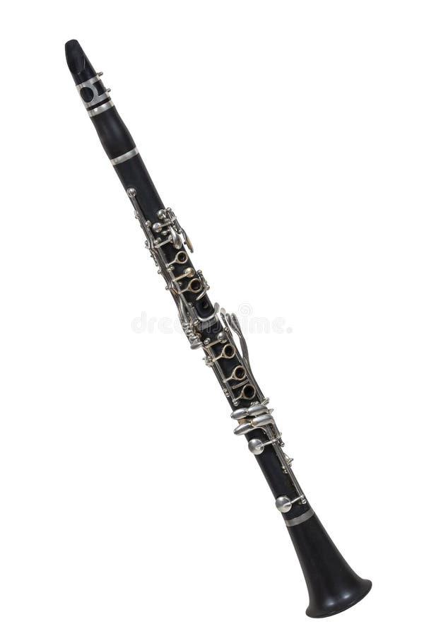 在白色背景隔绝的古典木管乐器乐器单簧管 库存照片