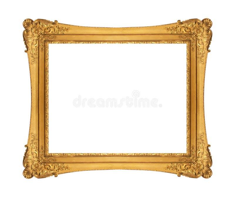 在白色背景隔绝的古色古香的金黄框架 图库摄影