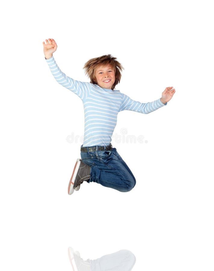 可爱儿童跳跃 库存照片