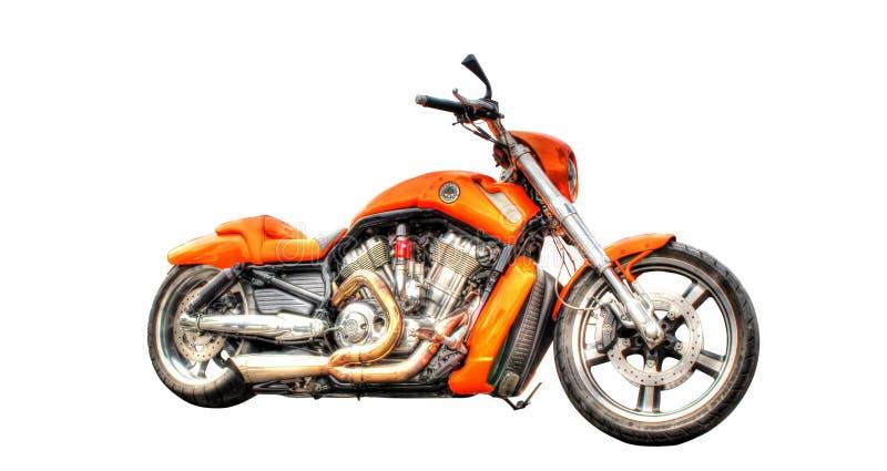 在白色背景隔绝的哈利戴维森摩托车 图库摄影