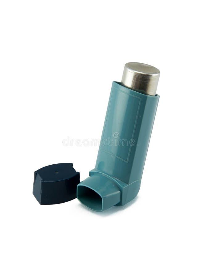 在白色背景隔绝的哮喘吸入器 库存图片