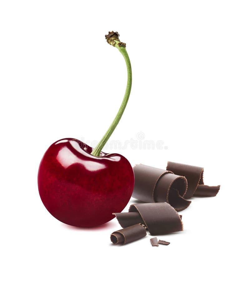 在白色背景隔绝的唯一樱桃巧克力 免版税库存图片