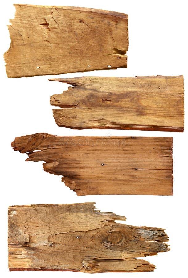在白色背景隔绝的四个老木板 老板条木头 免版税库存照片