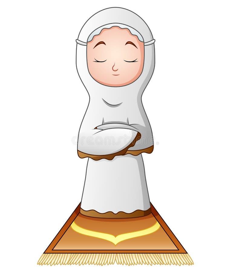 在白色背景隔绝的回教妇女祈祷 库存例证