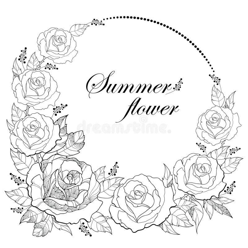 在白色背景隔绝的圆的花圈和叶子传染媒介图画与概述玫瑰色花的 与开放玫瑰的花卉元素 库存例证