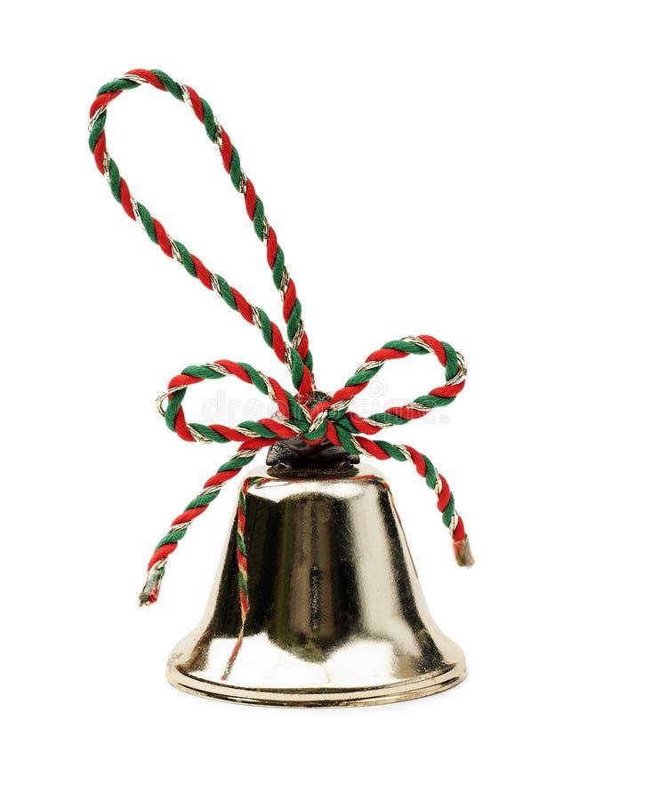 在白色背景隔绝的圣诞节铃声 免版税库存照片