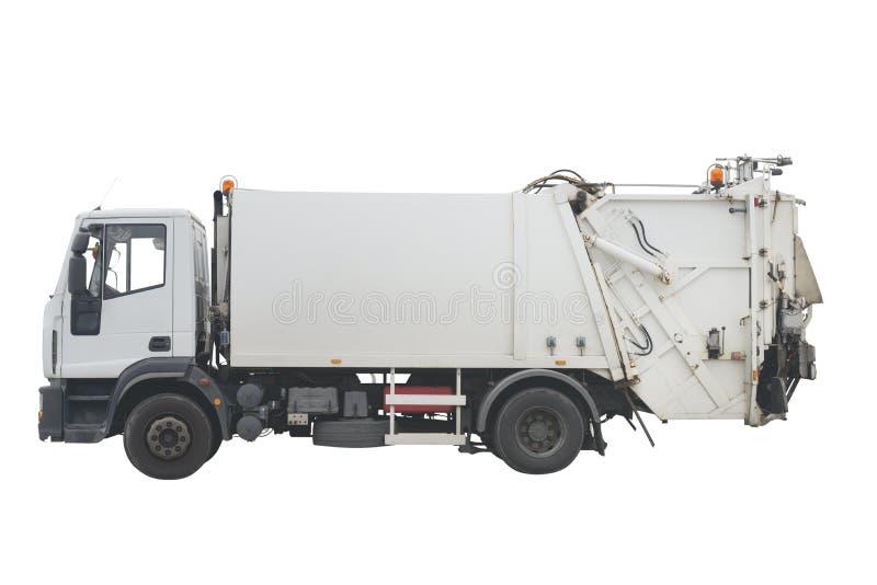 在白色背景隔绝的垃圾车 库存照片
