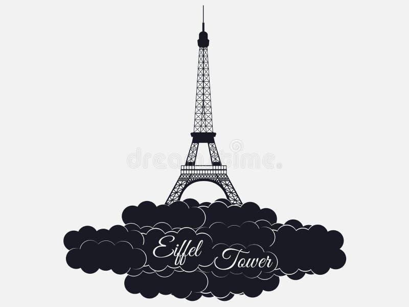 在白色背景隔绝的埃佛尔铁塔 云彩的艾菲尔铁塔 巴黎和法国的视域 库存例证
