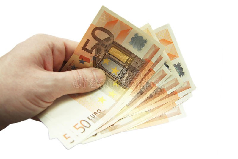 在白色背景隔绝的堆五十张欧洲钞票 免版税库存照片