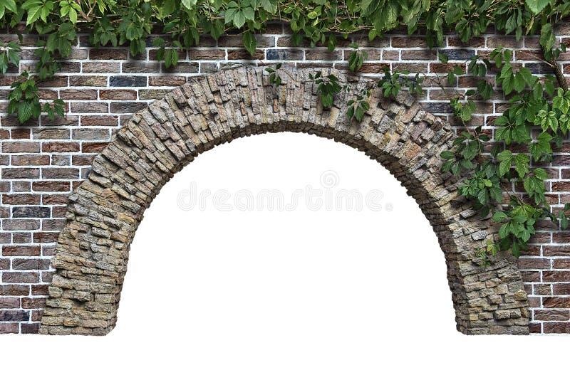 在白色背景隔绝的墙壁的石曲拱 库存图片