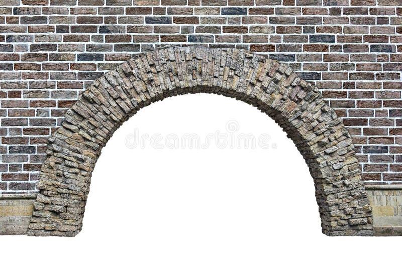 在白色背景隔绝的墙壁的石曲拱 免版税库存图片