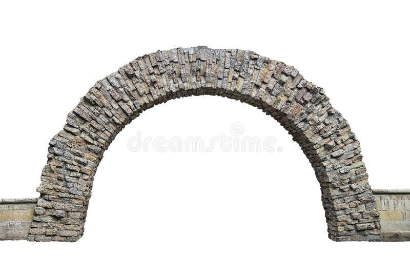 在白色背景隔绝的墙壁的石曲拱 库存照片