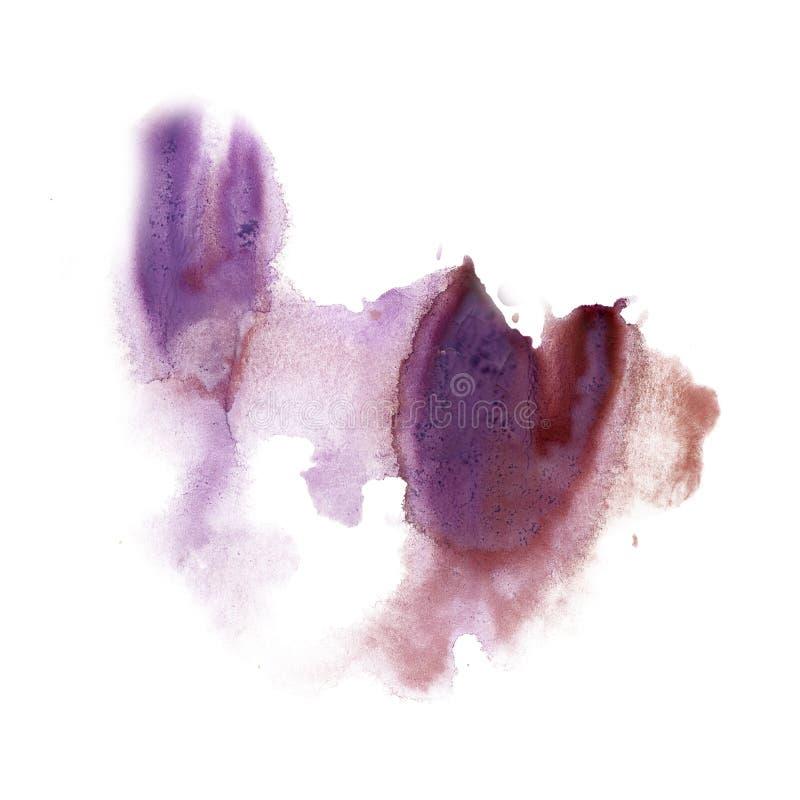 在白色背景隔绝的墨水泼溅物水彩染料液体水彩宏观斑点紫色污点纹理 向量例证
