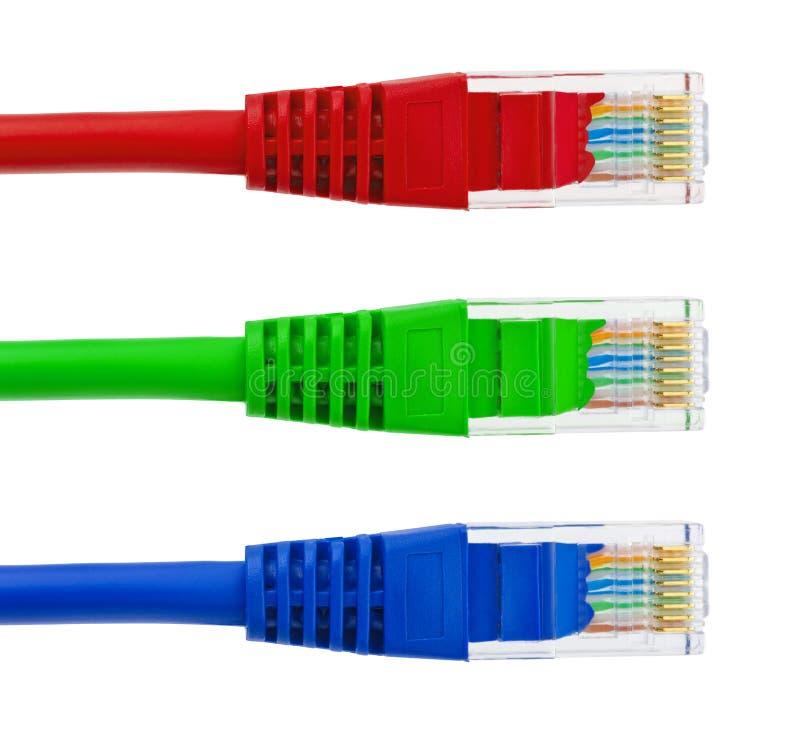 多彩多姿的计算机互联网缆绳 免版税库存图片