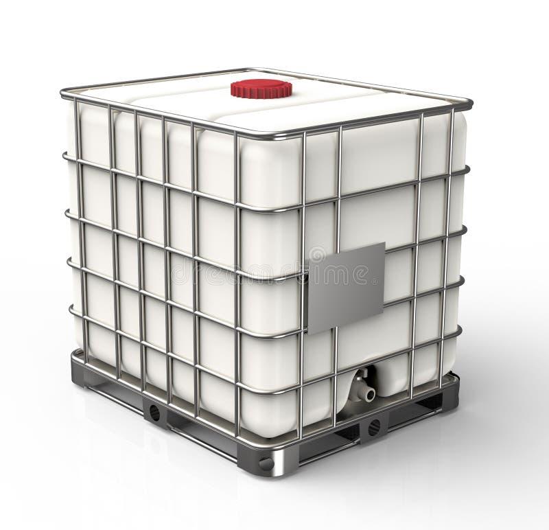 在白色背景隔绝的大块液体容器 库存照片