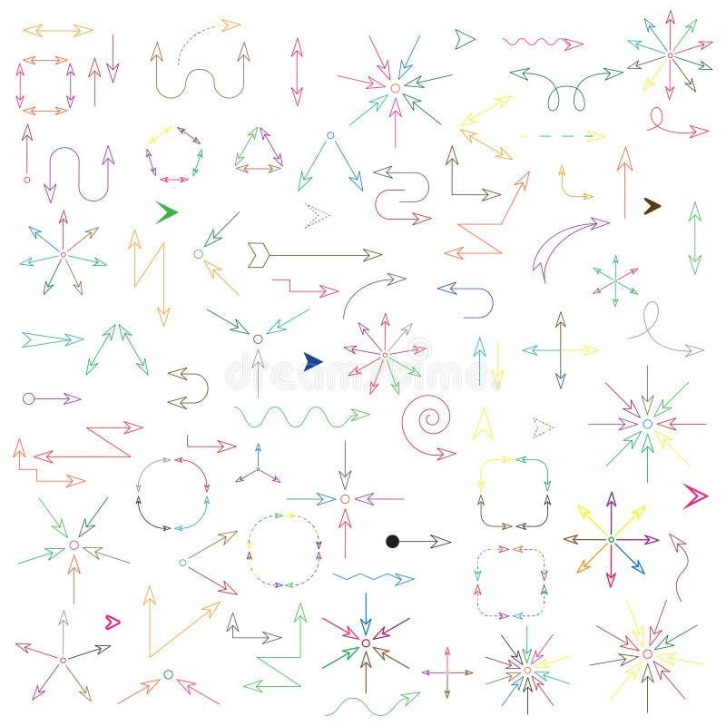 在白色背景隔绝的大套箭头 多彩多姿的版本 在色彩速写的样式的被绘的传染媒介例证在8 免版税图库摄影