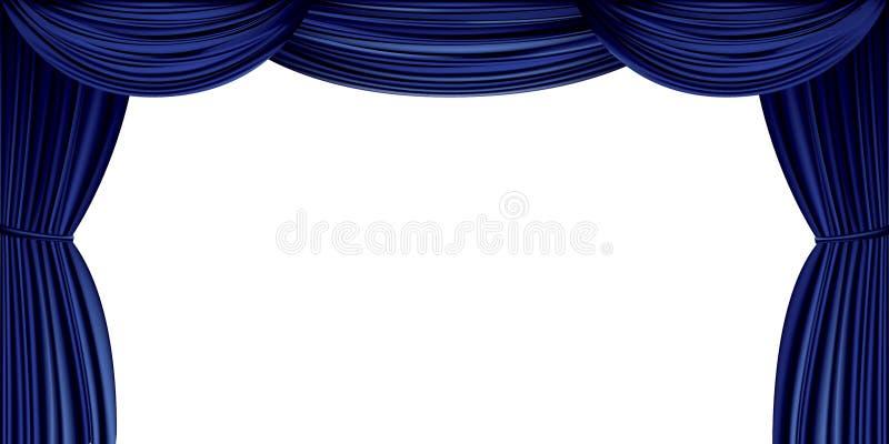 在白色背景隔绝的大蓝色帷幕 向量例证
