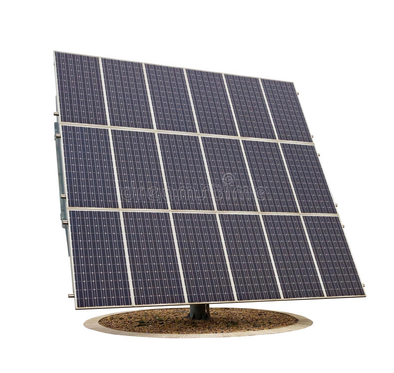 在白色背景隔绝的太阳电池板 免版税库存照片