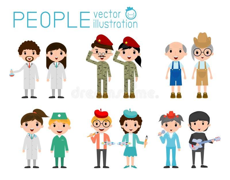 在白色背景隔绝的套不同的职业人民 套充分的身体不同的职业人民 不同的国籍 库存例证