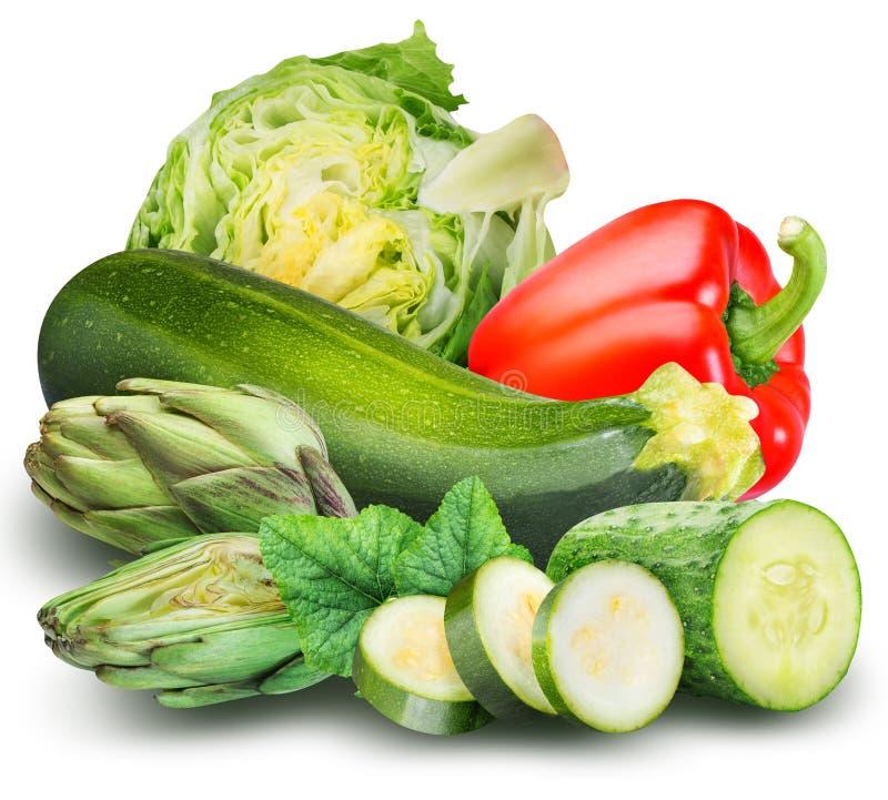 在白色背景隔绝的套新鲜蔬菜 库存图片