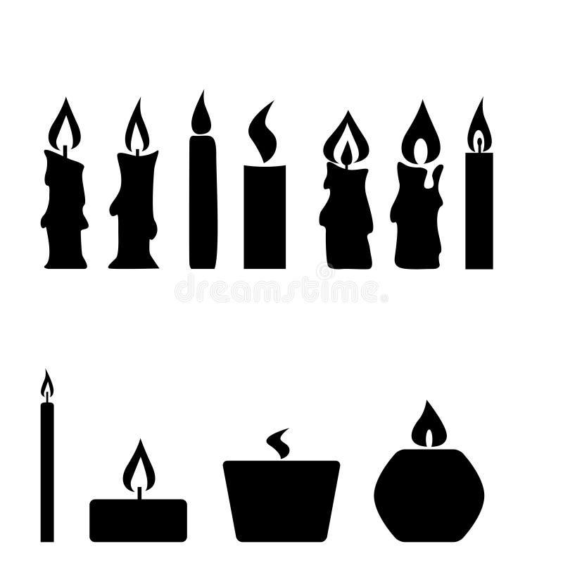 在白色背景隔绝的套蜡烛, 库存例证